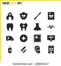 Medicine icons set with blood help, medicine folder and scalpel elements. Set of medicine icons and paperwork concept. Editable  elements for logo app UI design.