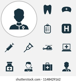Medicine icons set with case, medicine, tooth and other chest elements. Isolated  illustration medicine icons.