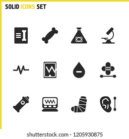 Medicine icons set with record in traumatology, negative rhesus and rhythm elements. Set of medicine icons and skeleton concept. Editable  elements for logo app UI design.