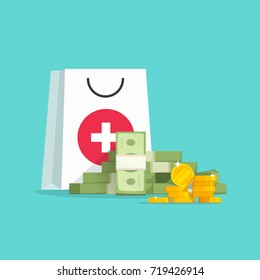Medicine and money concept illustration, flat cartoon money pile with medical or pharmacy bag, expensive medical care, big spendings on drugs prescription clipart image
