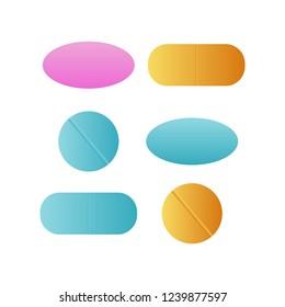 Medicine pills. Drugs . Antibiotic and vitamin pill. Pharmaceutical pill