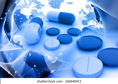 medicine pills and world globe on abstract digital background