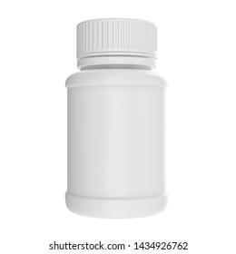 Medicine plastic bottle mock-up, 3D rendering isolated on white background