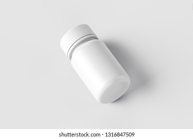 Medicine Plastic Bottle on soft gray background. White plastic bottle Mock-up. Medicine and vitamins, examples and templates isolated. 3D rendering.