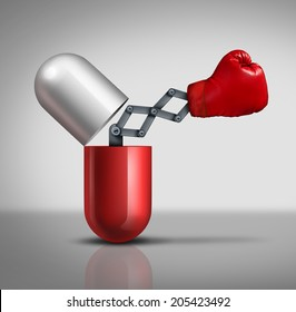 Medicine power medical concept as an open prescription capsule pill or vitamin with a boxing glove emerging out as a metaphor for human defense and preventive drug treatment fighting against disease.