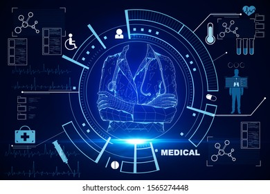 Medicine and science concept. Creative glowing medical interface on blue background. 3D Rendering