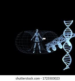 medicine space and man illustration 3D rendering aura dna magic