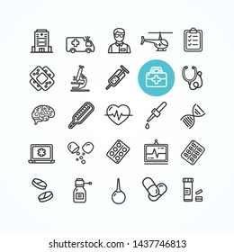 Medicine Symbols and Signs Black Thin Line Icon Set for Wep and App Include of Helicopter, Plaster and Car . illustration