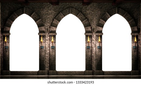 Medieval arches isolated 3d illustration