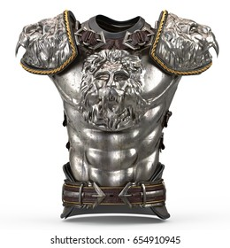 Medieval armor on the body in the style of a lion with large shoulder pads on an isolated white background. 3d illustration