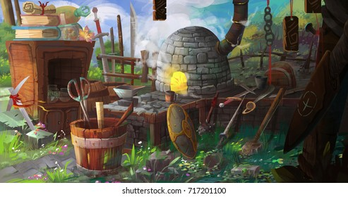 Medieval BlackSmith's Shop. Video Game's Digital CG Artwork, Colorful Concept Illustration, Realistic Cartoon Style Background