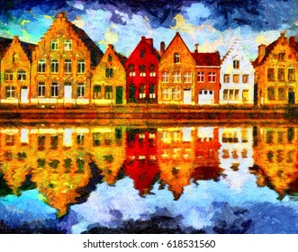 Medieval Brugge houses reflected in water oil painting