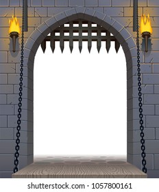 Medieval castle gate with a drawbridge and torches with a white aperture. Architectural vintage frame. Cover and poster fantasy design