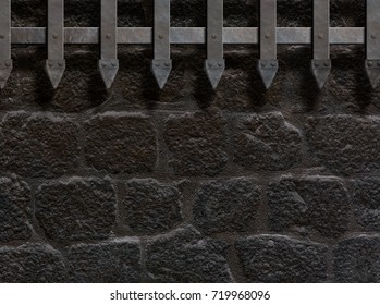 medieval castle wall or metal gate background 3d illustration