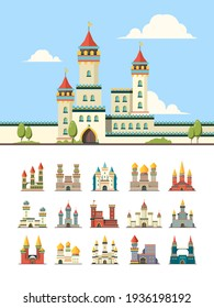 Medieval castles. Old palazzo building hill towers flat illustration