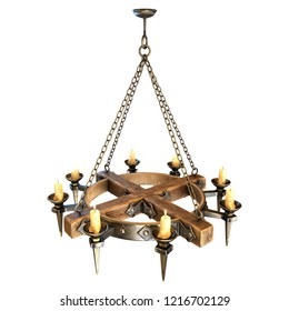 medieval chandelier with candles in medieval style, Closeup. 3d Illustration