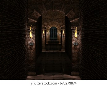 Medieval corridor and iron castle gate.3d illustration