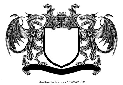 A medieval emblem heraldic coat of arms featuring dragon supporters flanking a shield charge with knights helmet great helm and crown crest and filigree leaf mantling in a vintage retro woodcut style.
