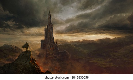 Medieval fantasy castle landscape - digital illustration