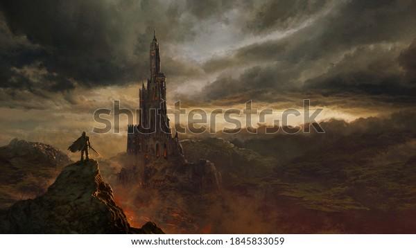 Medieval fantasy castle landscape - digital illustration