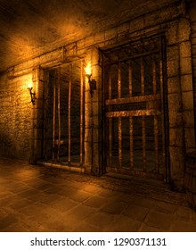 A medieval fantasy dungeon hallway lined with prison cells, illuminated by torches, 3d render