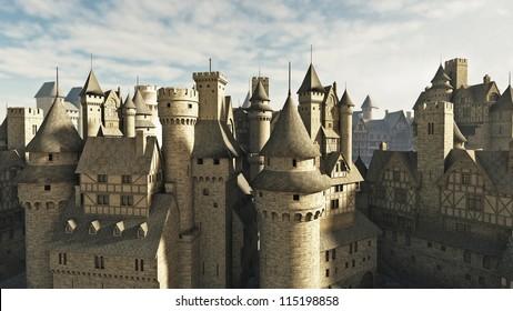 Medieval or fantasy town rooftops, 3d digitally rendered illustration