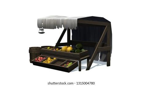 Medieval fruit market stall - isolated on white background - 3D illustration