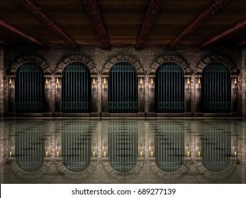 Medieval hall and iron railings.3d illustration