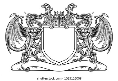 medieval heraldic coat arms emblem featuring stock vector royalty