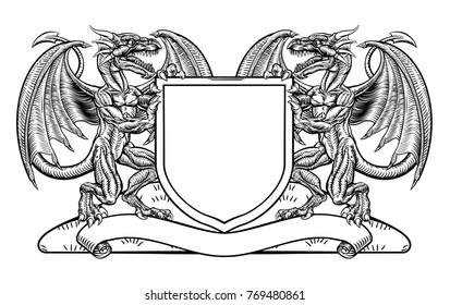 A Medieval Heraldic Coat Of Arms Emblem Featuring Rampant Dragon Animal Supporters Flanking Shield Charge