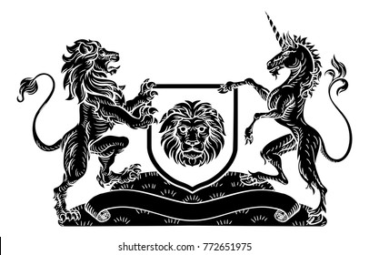 A medieval heraldic coat of arms emblem featuring lion and unicorn supporters flanking a shield charge in a vintage woodblock style.