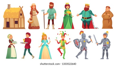 Medieval historical characters. Historic royal court alcazar knights, medieval peasant and king historic costume fairytale ancient aged isolated cartoon  character icons set