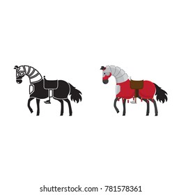 Medieval horse icon and silhouette isolated on white background. illustration