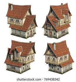 Medieval house set. 3D illustration