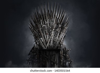 Medieval iron throne of kings made of weapons: swords, daggers, spears, knives blades. Misterious low key middle ages fantasy background design element.  Dark knights game concept. Clipping path. 3D