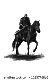 Medieval knight in armor on a black horse