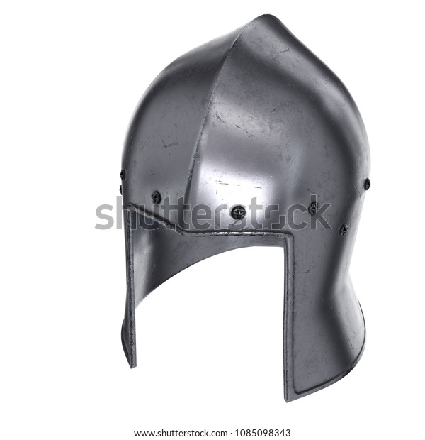 Medieval Knight Barbute Helmet Perspective View Stock