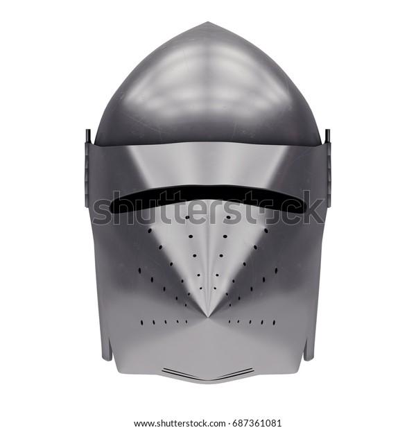 Medieval Knight Bascinet Helmet Visor Front Stock