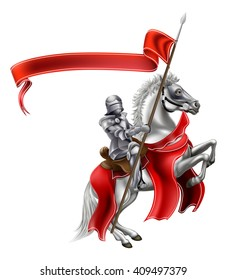 A medieval knight in shining armour on the back of a rearing white horse holding a red banner