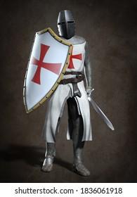 Medieval knight Templar. 3d illustration