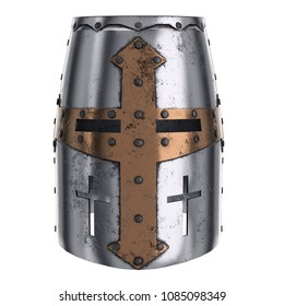 Medieval Knight Templar Crusader Helmet with Cross Symbol. Front view. Ancient equipment for battlefields. 3D render Illustration Isolated on white background.