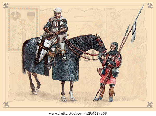 Medieval knights. Teutonic Grandmaster, Peipus lake battle. Acrylic illustration.