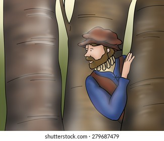 A medieval man is looking around in a wood. Digital illustration for the Grimm's fairy tale Rumpelstiltskin.