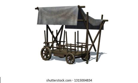 Medieval market stall - isolated on white background - 3D illustration