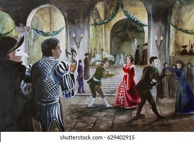 Medieval masquerade, dancing, hand drawing watercolor illustration