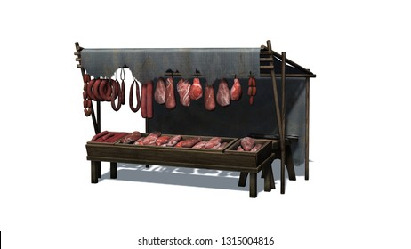 Medieval meat and sausage market stall - isolated on white background - 3D illustration