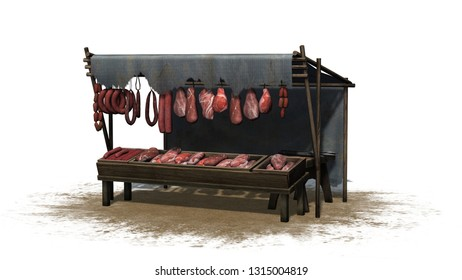 Medieval meat and sausage market stall on a sand area - isolated on white background - 3D illustration