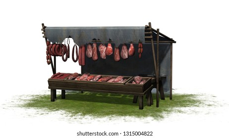 Medieval meat and sausage market stall on a grass area - isolated on white background - 3D illustration
