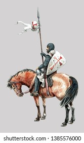 Medieval mounted knight illustration. Templar knight on horseback. Acrylic drawing.