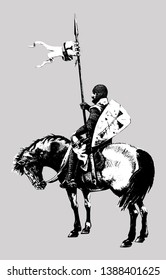 Medieval mounted knight illustration. Templar knight on horseback. Black and white silhouette.